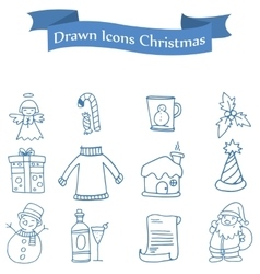 Different element christmas icons set vector