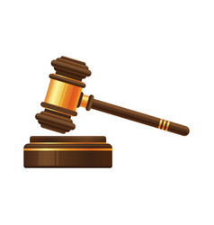 judge gavel or auction hammer icon vector image