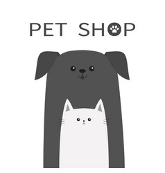 pet shop icon dog and cat animal happy pets set vector image vector image