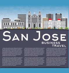 san jose skyline with gray buildings blue sky vector image