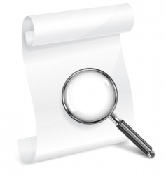 scroll paper and magnifying vector image vector image