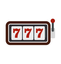 slot machine with three sevens icon flat style vector image