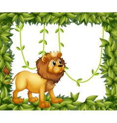 A king lion in a leafy frame vector image vector image