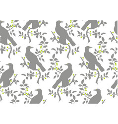 bird on branch seamless pattern vector image
