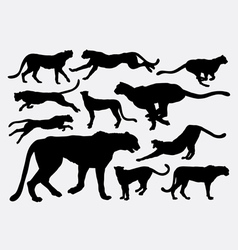 Cheetah wild animal silhouettes vector image vector image