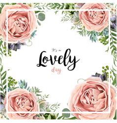Floral card frame bouquet design with garden pink vector