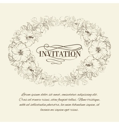 Invitation card with blooming hibiscus vector image