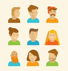 set of avatars and portraits in flat style vector image vector image