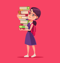 smiling girl student character holds books vector image