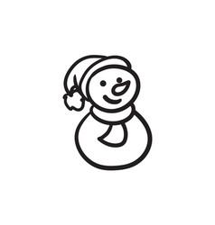 snowman sketch icon vector image