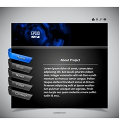 website template in black and blue colors vector image vector image