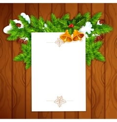 Christmas card with blank paper and holly berry vector image