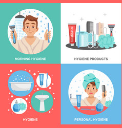 hygiene square compositions set vector image vector image