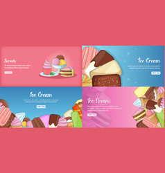 ice cream banner set template cartoon style vector image