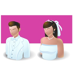 People Icons Wedding Bride and Groom vector image