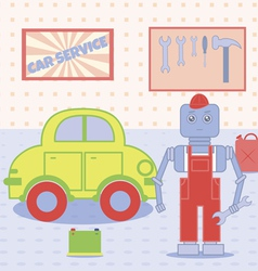 robot in the car service vector image
