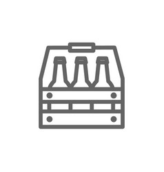 simple beer bottles in basket line icon symbol vector image vector image