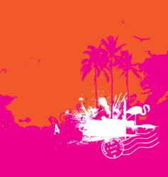 tropical island vintage style vector image vector image