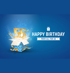 55 th years anniversary banner with open burst vector