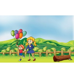 A happy child with balloons and a girl eating an vector