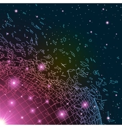 Abstract background with exploded shiny grid vector image