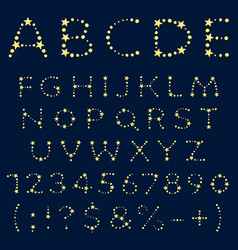 alphabet letters numbers signs yellow stars vector image