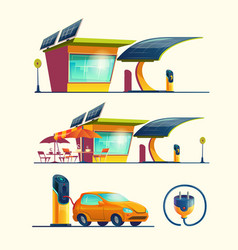 alternative energy sources cartoon set vector image