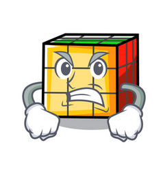 Angry rubik cube mascot cartoon vector