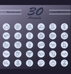 Animal icons set outline style of icons vector