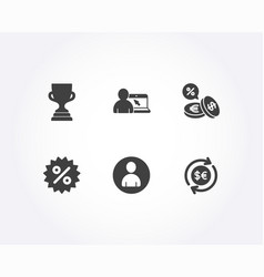 award cup discount and currency exchange icons vector image