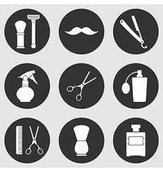 Barber Shop monochrome icons set vector image