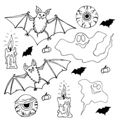 Bats eyes zombies ghosts and candles vector