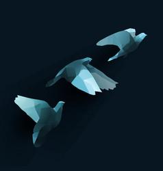 Birds fly tree blue vector