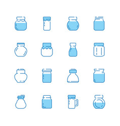bottles line icon jar packaged with healthy food vector image