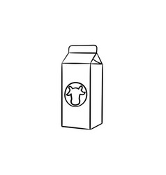 carton box milk hand drawn sketch icon vector image