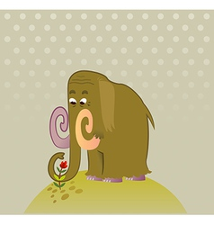Cartoon Mammoth with flower vector image
