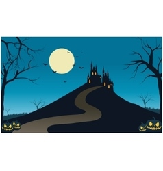 Castle in hills scenery halloween vector