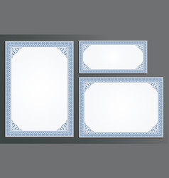 Certificate template frame set vector