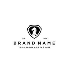Chess horse and shield logo design concept vector