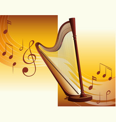 Classic harp with music notes in background vector