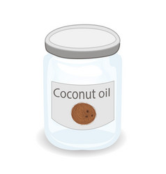 Coconut oil in a jar isolated vector