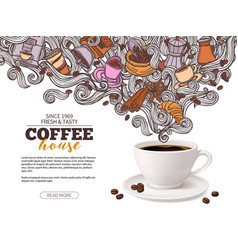 coffee advertising poster design with cup vector image