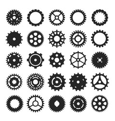 cogs and gears icon set mechanism or machinery vector image