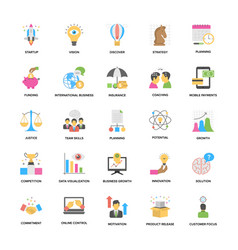 Collection of business management flat icons vector
