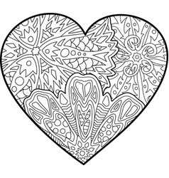 Coloring book page with beautiful decorative heart vector