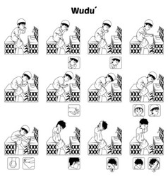 Complete set of muslim ablution guide outline vector