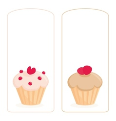 Cupcake on white invitation card vector