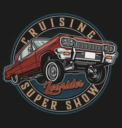 Custom bouncing car vintage round logo vector