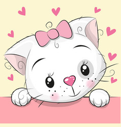 Cute cartoon kitten with hearts vector