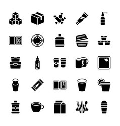 Dinner set glyph icons pack vector